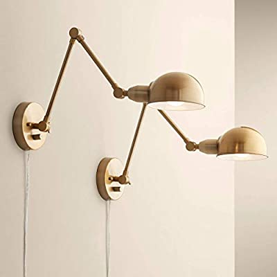 Somers Antique Brass LED Swing Arm Wall Lamp Set of 2