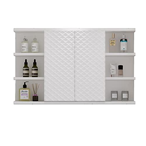 Rostfritt stålskåp, badrumspegelskåp, väggmonterat förvaringsskåp, medicinskåp med spegel (Color : White, Size : 80 * 60cm)