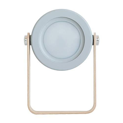 GANFANREN Lámpara de linterna recargable con luz de noche ajustable con diseño plegable regulable LED lámpara de escritorio para lectura lámpara LED (color azul y gris)