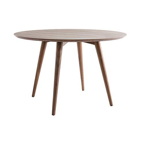 Miliboo Table à Manger Design Ronde Noyer D120 cm Livia