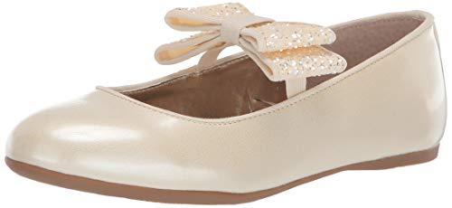 NINA Girls' Zondra Ballet Flat, Ivory Patent, 6 Medium US Big Kid