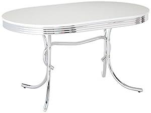 Coaster 50 S Retro Nostalgic Style Oval Dining Table Chrome