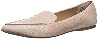 Steve Madden Women's Feather Loafer Flat, Pink Crocodile, 8 M US