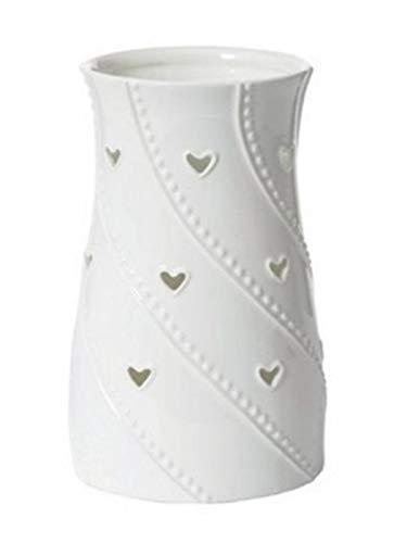 YANKEE CANDLE White Hearts Portacandele, Ceramica, Bianco, 17.5 x 17.5 x 26.5 cm