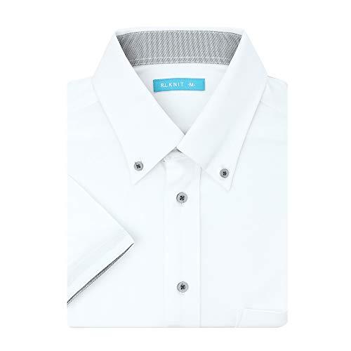 (アトリエ 365) atelier365 ニットシャツ ワイシャツ 半袖 ストレッチ ノーアイロン イージーケア 形態安定 Yシャツ/at-ms-po-1080-ats-4l-47-white-ss21