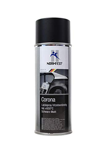 Normfest LACKSPRAY Spray Corona SCHWARZ MATT HITZEBESTÄNDIG 650°C Lack 400ML (1)