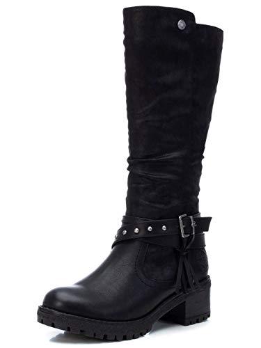REFRESH - Bota Motera de Tela para Mujer - Cierre con Cremallera - - Color Negro - Talla 39