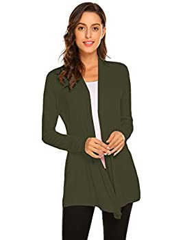 Newchoice Cardigans for Women Lightweight Long Sleeve Open Front Summer Sweater Casual Kimono Cover ups  Olive Green S