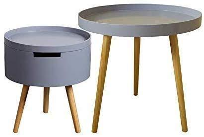 Mesa de centro Tabla mesa de centro redonda lado extremo con la cesta del almacenaje moderna mesita de noche no urbano salón dormitorio Salón Comedor Tablas de café pequeñas ( Color : Gray+gray )