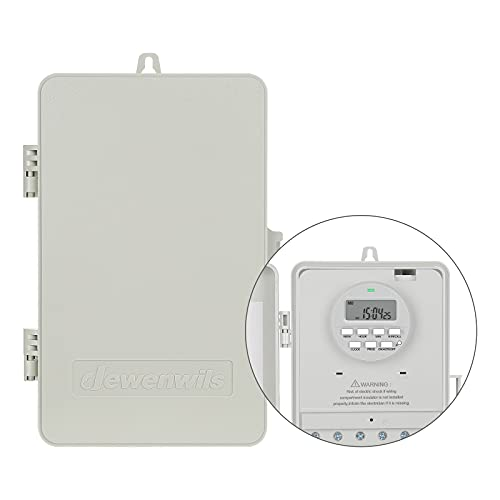 DEWENWILS Outdoor Heavy Duty Waterproof Timer Box Digital, 2HP 40A 120-277 VAC, 7-Day 20 ON/Off Programmable Timer Switch for Outdoor/Indoor Water Heater, Pool Pump, SPA, Motor, ETL Listed