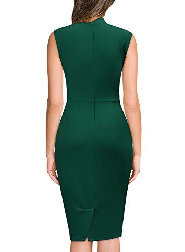 Miusol Lápiz Corbata Plisado Fiesta Oficina Vestido para Mujer Verde Large
