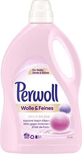 Perwoll Wolle & Feines Faser Pflege Feinwaschmittel, 40 (1 x 40) Waschladungen, für Wolle, Seide und Feines