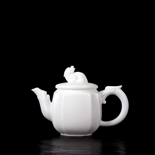 Tetera de porcelana de estilo japonés Tetera de porcelana de jade gordo de oveja Tetera de cerámica de una sola olla de porcelana blanca