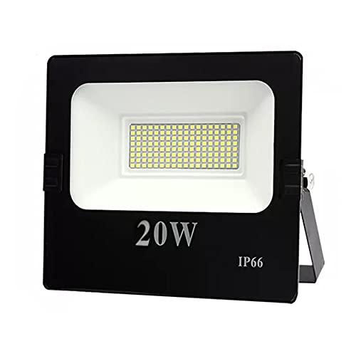 Foco LED de 20 W para exteriores, foco LED de 1800 lm, foco exterior superbrillante, IP66 resistente al agua, 6500 K, blanco frío, para jardín, garaje, campo deportivo [clase energética A++]