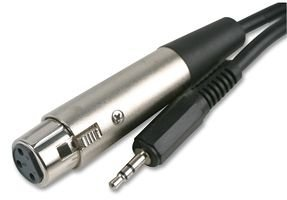 rhinocables XLR 3 pin Female Socket to 3.5mm stereo Jack Cable Microphone to PC (6m)