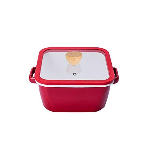 JT-Cookware Pot en émail Carré avec Couvercle en Verre Transparent, Pot à Soupe De 20 Cm Batterie De Cuisine à La Maison Casserole Antiadhésive(Size:3.5L)