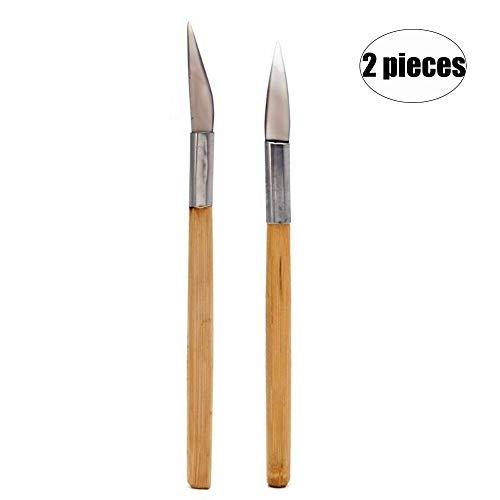 N/A - 2 piezas de pulido de ágata con mango de bambú para tallar arcilla de metal precioso, herramienta de pulido de detalles de latón