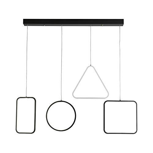 LED Suspension Lumière pendante Moderne Créatif Géométrique Désign Lampe suspendue Dimmable avec télécommande Blanc et noir Abat jour Lustre pour Îlot de cuisine Salle à manger Bar Bureau, 4 lumières