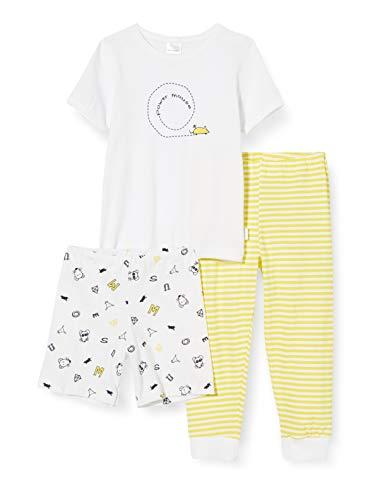 Schiesser Mädchen Yellow Mouse Md 3-teilig Zweiteiliger Schlafanzug, Weiß (Weiss 100), (Herstellergröße: 104)