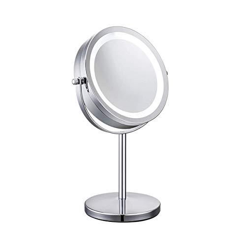 Meowoo Espejo Maquillaje con Luz Luces Espejo Cosmético LED HD Doble cara Aumento 1x/10x, 360° Rotación Redondo Cosmética Espejo Luminoso(1pc)