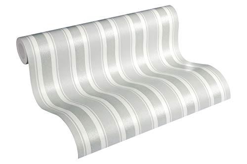 Livingwalls Vliestapete mit Glitter Neue Bude 2.0 Tapete gestreift 10,05 m x 0,53 m grau weiß Made in Germany 361674 36167-4