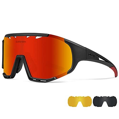 Queshark Gafas de Ciclismo Montura TR90 Gafas de Sol Deportivas Polarizadas, para Hombres y Mujeres con 3 Lentes, para Conducir Pescar Béisbol Correr Certificado CE