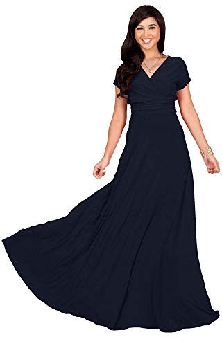 KOH KOH Womens Long Cap Short Sleeve V-Neck Flowy Cocktail Slimming Summer Sexy Casual Formal Sun Sundress Work Cute Gown Gowns Maxi Dress Dresses, Dark Navy Blue L 12-14