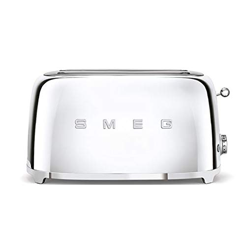 Smeg TSF02SSUK 50's Retro Style 4 Slice Toaster, Extra-Wide Bread Slots, 6 Browning Levels, Reheat and Defrost Functions, Removable Crumb Tray, Anti-Slip Feet, Stainless Steel, 1500 W, Silver