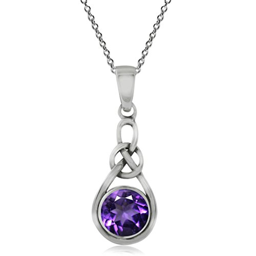 Silvershake Genuine Amethyst 925 Sterling Silver Celtic Knot Pendant with 18 Inch Chain Necklace