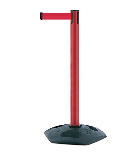 tensabarrier 886m-21-r5schwere Post mit Ein schwarz Gummi Boden Und Rot Gurtband mit einem Anti Tamper Klebeband Ende, 2,3m, rot