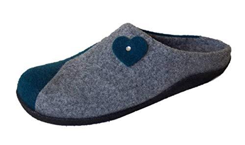 Ströber Pantoffeln Hausschuhe Filz grau-Petrol Weite K (40 EU)