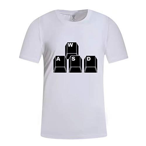 TAMALLU Herren T-Shirt Sommer Mode Männer Kurzarm Tee Lässige Kleidung Komfort Bedruckt Cool Bluse Tops(Weiß,S(S))