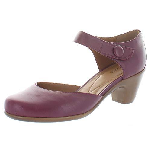 Easy Spirit Womens Clarice Leather Mary Jane Heels Red 7.5 Narrow (AA,N)