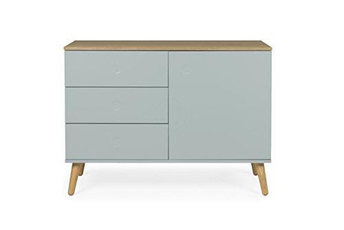tenzo 1674–676 DOT Designer Buffet 1 porte, 3 tiroirs, Sauge/chêne, 79 x 109 x 43 cm (LxHxP)