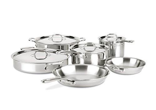 All-Clad D3 Compact Stainless Steel Dishwasher Safe Cookware Set, 10-Piece, Silver