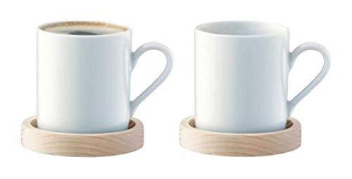 LSA International Kreis Espressotasse und Esche Untertasse 0,09L x 2
