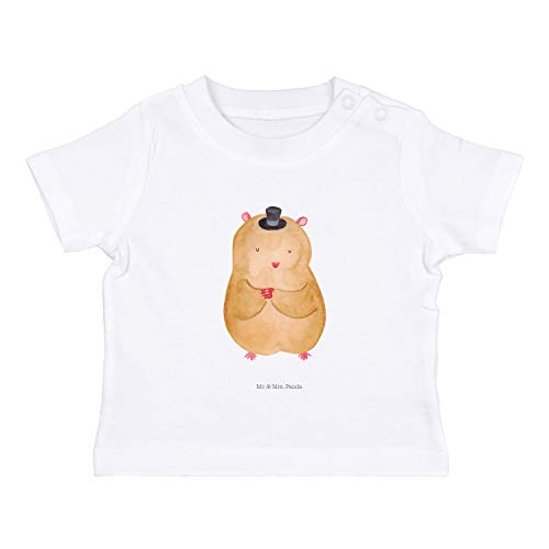 Mr. & Mrs. Panda , 3-6 Monate Baby T-Shirt Hamster mit Hut - Farbe Weiß