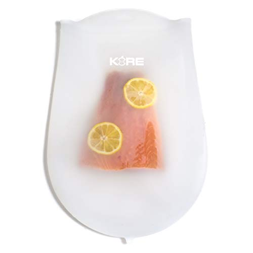 KORE Reusable Sous Vide Bags | Set of 2 Extra Large BPA Free Bags | Food Grade Silicone | Larger, Thinner and More Flexible than Other Reusable Bags | Compatible with Joule, Anova, Instant Pot Immersion Circulators and other Sous Vide Accessories