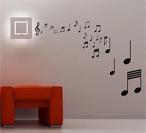 Online Design Impresionante Notas Musicales Adhesivo de Pared con Texto Vinilo Música Salón Dormitorio - Blanco