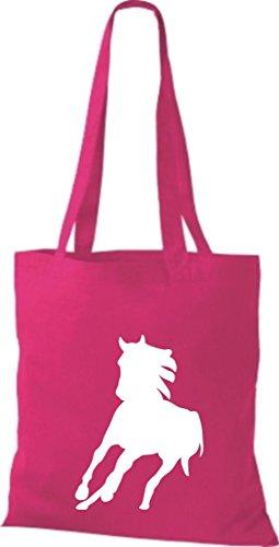 Stoffbeutel Tiermotive Zoo Natur Pferd Fohlen Gaul horse Baumwolltasche, Beutel, Umhängetasche, Farbe pink