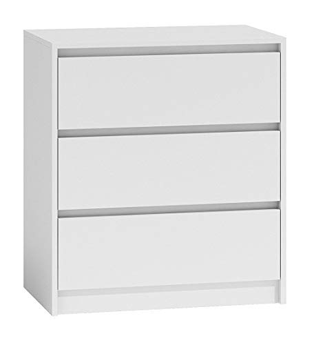 Shumee Kommode Schrank 3 Schubladen Höhe 70x43x78cm Karo K3 Sideboard Anrichte Highboard Weiß