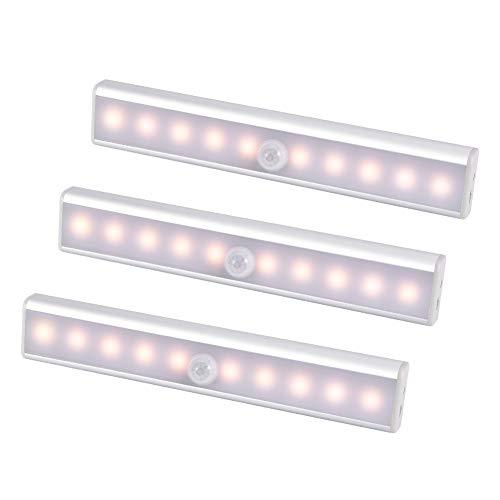 WZTO Barra Luminosa a LED, led Armadio Sensore Movimento Luce, Luci Notturne usb Ricaricabile Striscia Magnetica Adesiva Lampada per Sgabuzzino Scale Corridoio Cucina (Bianco caldo,3pezzo)