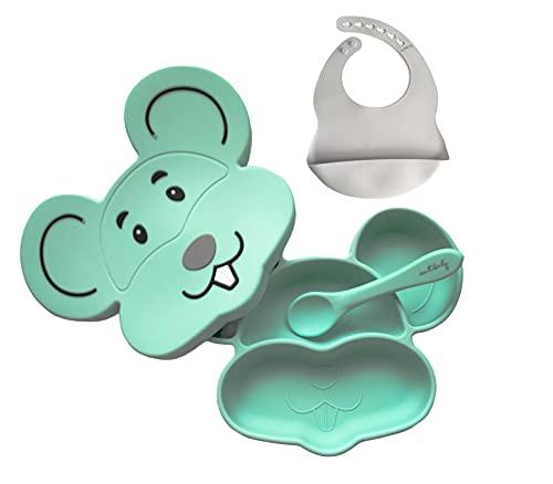 AMTBABY Vajilla Bebé silicona. Diseño infantil Ratón. Plato con ventosa, compartimentos y tapadera, sistema antivuelco, Cuchara y Babero. Aprendizaje BLW (Raton Menta)