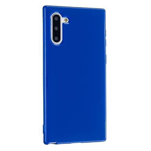 CrazyLemon Hülle für Samsung Galaxy Note 10, Niedlich Volltonfarbe Gelee Design Weich Silikon Slim Dünn Handyhülle Stoßfest Schutzhülle - Königsblau