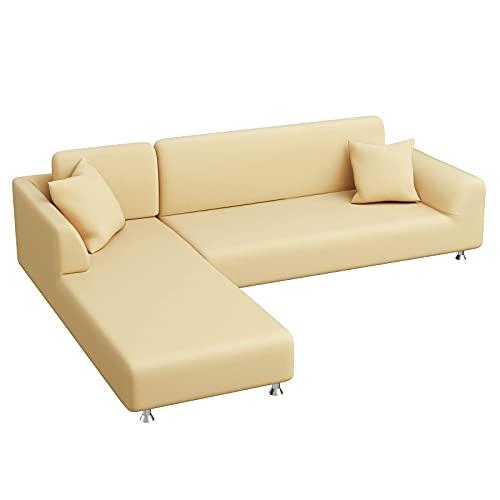 Yidaxing Copridivano con Penisola Elasticizzato, Copridivano Angolare Chaise Longue Sofa Cover Componibile a Forma di L in Poliestere Tessuto(3 Posti+3 Posti, Beige)