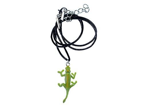 Miniblings Chamäleon Kette Halskette Anhänger Reptil Echse Leguan grün - Handmade Modeschmuck - Lederkette Leder