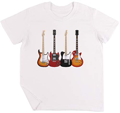 Cuatro Eléctrico Guitarras Niños Chicos Chicas Unisexo Camiseta Blanco