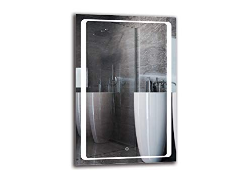 Espejo LED Deluxe - Dimensiones del Espejo 60x90 cm - Interruptor tactil - Espejo de baño con iluminación LED - Espejo de Pared - Espejo con iluminación - ARTTOR M1ZD-49-60x90 - Blanco frío 6500K