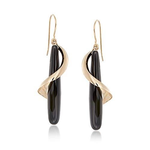 Ross-Simons Elongated Black Onyx Teardrop Spiral Earrings in 14kt Yellow Gold For Women