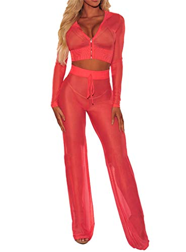 2Pcs Bikini Damen Durchsichtiges Mesh Hoodie Langarm Crop Tops mit Reißverschluss High Waist Hoher Elastischer Bund Weites Bein Lange Hose Sexy Badeanzug Bikini Cover Up Strand Outfits (Rot , S )